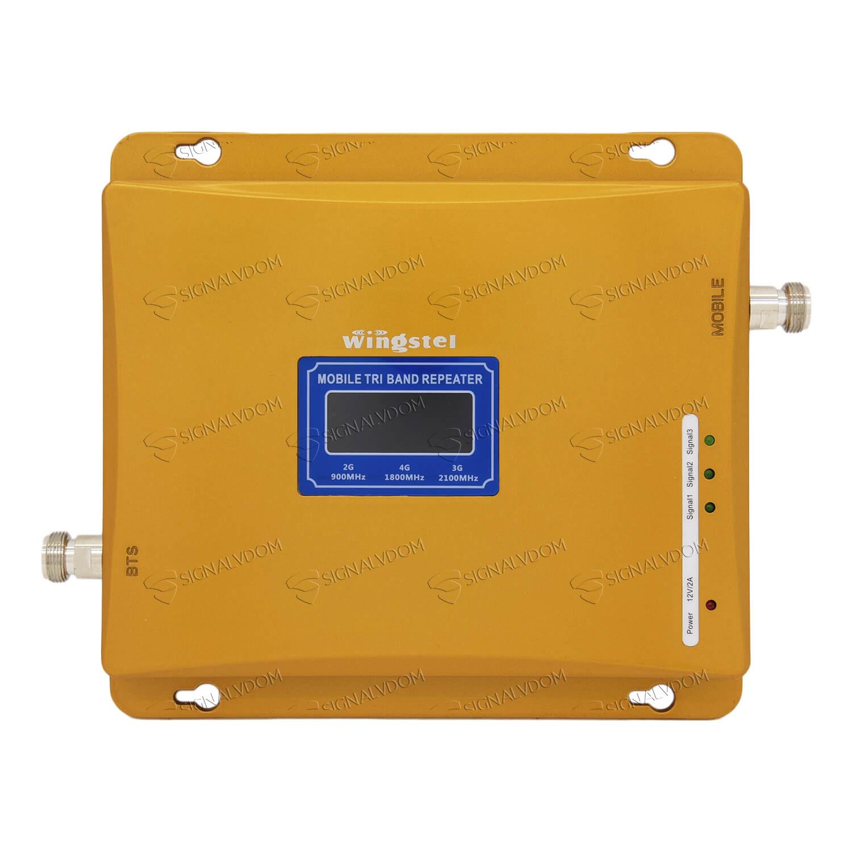 Усилитель сигнала Wingstel 900/1800/2100 mHz (для 2G/3G/4G) 65 dBi, кабель 15 м., комплект - 4